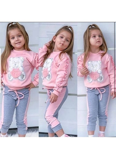 Quzucuk Kids Kız Çocuk Nakış Detaylı Eşofman Takımı Renkli
